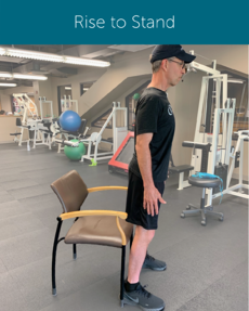 Orthopedic Institute physical therapist demonstrates how to stand from a sitting position ending with rising to stand.