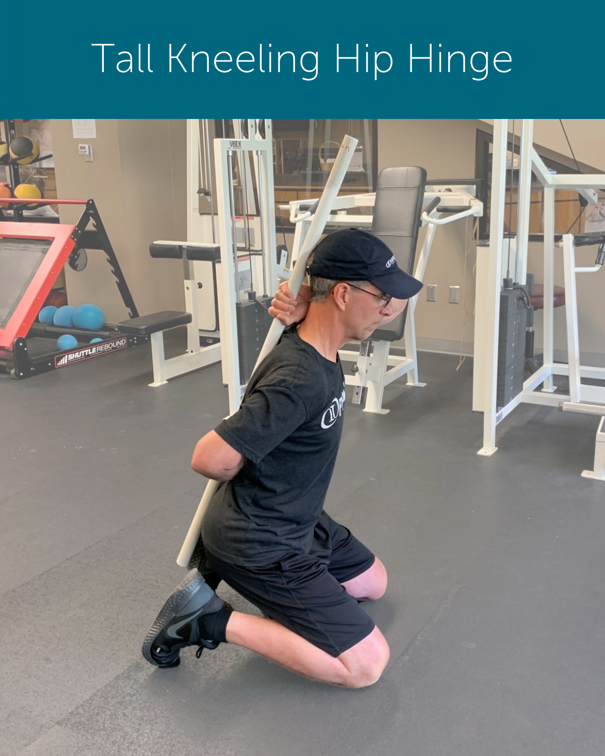 Orthopedic Institute physical therapist demonstrates how to achieve a neutral spine while in a tall kneeling position to avoid back pain when exercising.