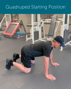 Orthopedic Institute physical therapist demonstrates how to achieve a neutral spine while in the quadruped position in order to avoid back pain when exercising.
