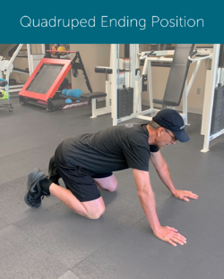 Orthopedic institute physical therapist demonstrates achieving a neutral spine while in the quadruped position to avoid back pain when exercising.