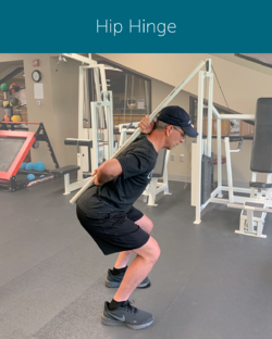 Orthopedic Institute physical therapist demonstrates how to properly hip hinge (bend) in order to avoid back pain using a pole to ensure a neutral spine.