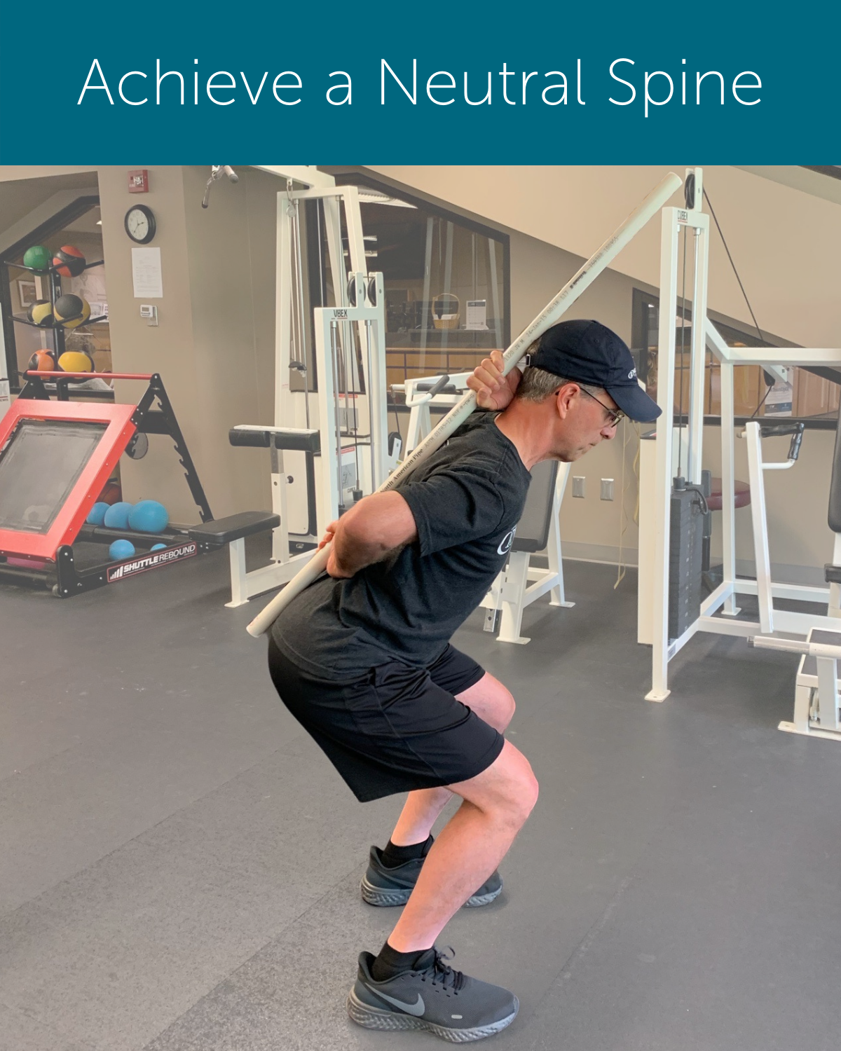Orthopedic Institute Physical Therapist demonstrates how to achieve a neutral spine using a pole to promote good form when hip hinging (bending) or squatting.