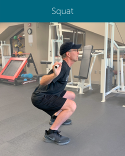 Orthopedic Institute physical therapist demonstrates correct squatting form to avoid back pain during exercise.